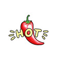 red hot chili pepper hand drawn color vector image vector image