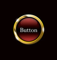 red shiny button with metallic elements vector image vector image