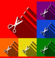 scissors sign set of icons vector image vector image
