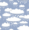 Seamless pattern with white clouds and raindrops vector image vector image