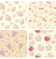 set if fruit retro seamless patterns vector image