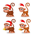 set of cute monkey with red cap of santa claus and vector image