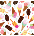 set of ice creams seamless pattern vector image vector image