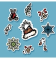 set stickers with ornamental christmas things vector image
