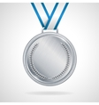silver medal with ribbon vector image vector image