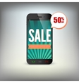 Smartphone with information about discounts on the vector image vector image