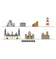 spain zaragoza flat landmarks vector image vector image