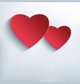 Stylish abstract background with two red 3d heart vector image vector image