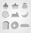 Variety of bakery icons on grey background vector image