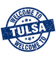 welcome to tulsa blue stamp vector image vector image