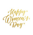 women day gold glitter text lettering vector image vector image