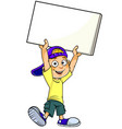 boy with blank banner vector image