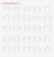 car set style line icons on white vector image