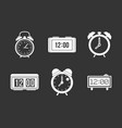 alarm clock icon set grey vector image