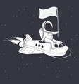 astronaut holds a flag on shuttle vector image vector image