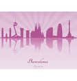 Barcelona skyline in purple radiant orchid vector image vector image