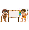 border template with two cavemen vector image vector image