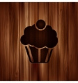 Cake web icon Wooden background vector image