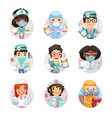 cartoon doctor avatars with different vector image