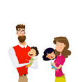 cartoon family with children mother and father vector image