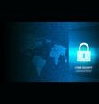 closed padlock on binary code background vector image vector image