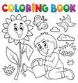 coloring book boy gardening theme 1 vector image vector image