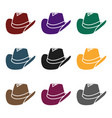 cowboy hat icon in black style isolated on white vector image vector image