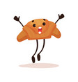 Cute croissant with funny face jumping with arms
