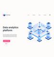 data analytics workstation 3d platform automation vector image