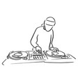 disc jockey with the turntable dj plays vector image vector image