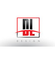 dl d l logo letters with red and black colors and vector image vector image