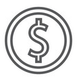 dollar coin line icon finance and banking vector image vector image
