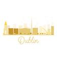 Dublin City skyline golden silhouette vector image vector image