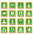 funeral ritual service icons set green square vector image vector image