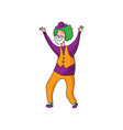 funny clown in beautiful color clothes cute clown vector image