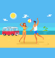 girl and guy play volleyball on beach near sea vector image