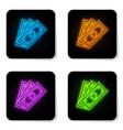 glowing neon stacks paper money cash icon vector image vector image