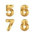 Golden alphabet Set of metallic 3d numbers vector image vector image
