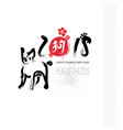 happy chinese new year black brush calligraphy vector image
