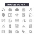 houses to rent line icons signs set vector image vector image