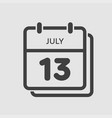 icon calendar day 13 july summer days year vector image vector image