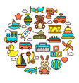 kid toys or children playthings icons vector image vector image