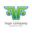 letter f v alphabet green company symbol icon vector image