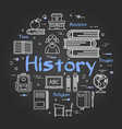 linear history subject concept on black chalkboard vector image vector image