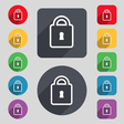 Lock icon sign A set of 12 colored buttons and a vector image vector image