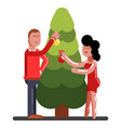 man and girl adorns a new year tree vector image vector image