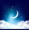 Night sky background with with crescent moon vector image