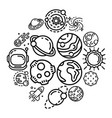 planets icon set outline style vector image