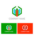 polygon building company logo vector image