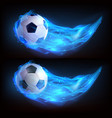 realistic flying soccer ball in blue fire vector image vector image